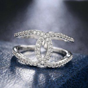 925/18K WHITE GOLD INFINITY RING
